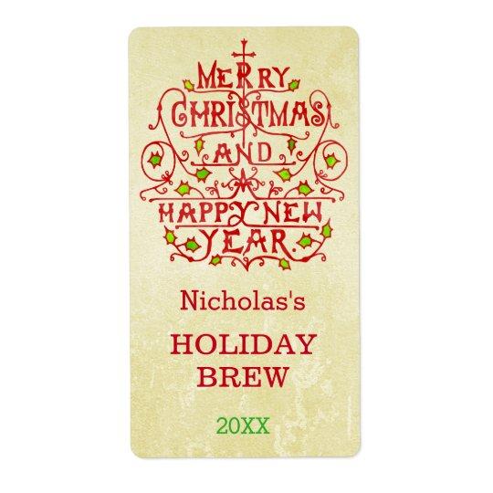 名前入りなクリスマスの新年のヴィンテージのタイポグラフィ 発送ラベル