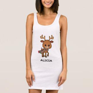 名前入りなクリスマスの漫画のシカ 袖なしドレス