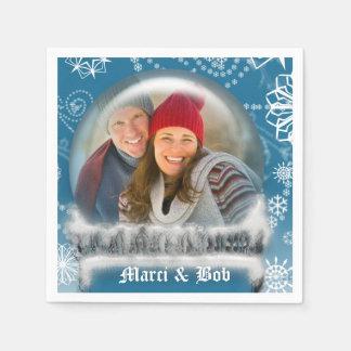 名前入りなクリスマスの雪の地球の写真テンプレート スタンダードカクテルナプキン