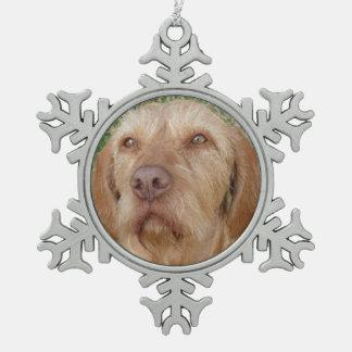 名前入りなクリスマスのVizslaペット写真 スノーフレークピューターオーナメント