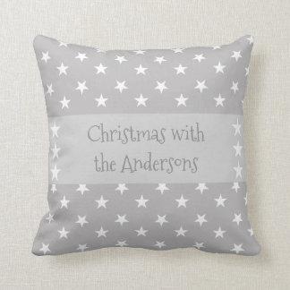 名前入りなクリスマスは灰色を主演します クッション
