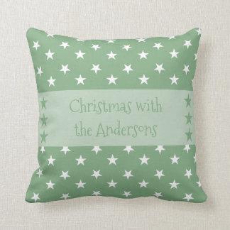 名前入りなクリスマスは緑を主演します クッション