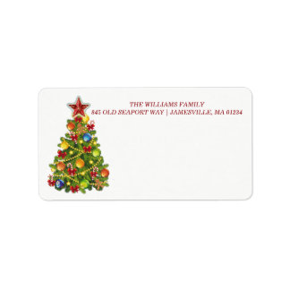 名前入りなクリスマスツリーの郵送物のラベル ラベル