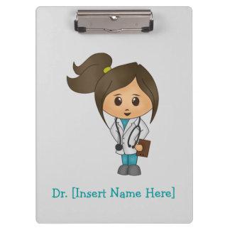 名前入りなクリップボード-メスのブルネットの医者 クリップボード