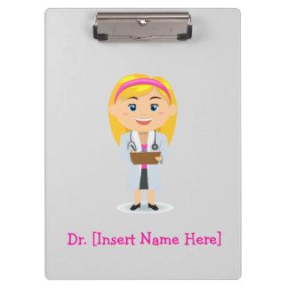 名前入りなクリップボード-メスのブロンドの医者 クリップボード