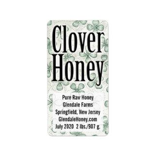 名前入りなクローバーの蜂蜜の5ライン ラベル