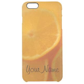 名前入りなクールなオレンジ飲み物 クリア iPhone 6 PLUSケース