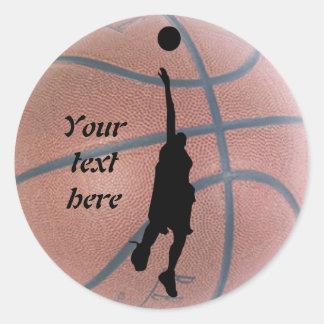 名前入りなクールなバスケットボール 丸型シール