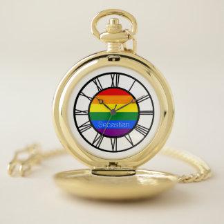 名前入りなゲイプライドの虹の旗LGBT ポケットウォッチ