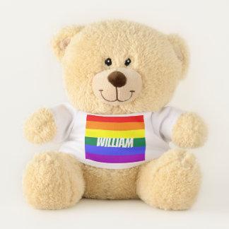 名前入りなゲイプライドの虹LGBT テディベア