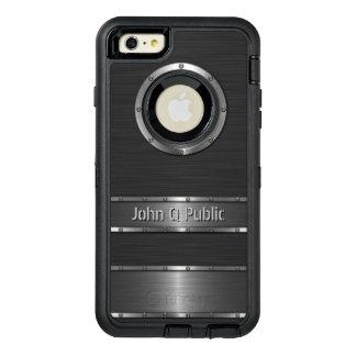 名前入りなコンテンポラリーな黒いおよび銀製 オッターボックスディフェンダーiPhoneケース