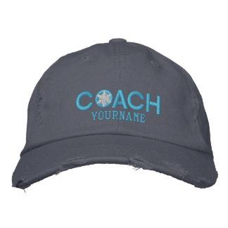 名前入りなコーチの雪片の空色 刺繍入りキャップ