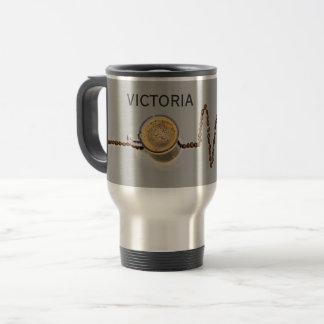 名前入りなコーヒーカフェインの心拍のタンブラー トラベルマグ