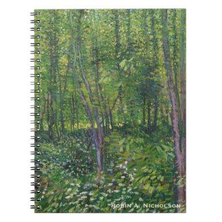 名前入りなゴッホの木および下草 ノートブック