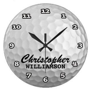 名前入りなゴルフ・ボールの柱時計 ラージ壁時計
