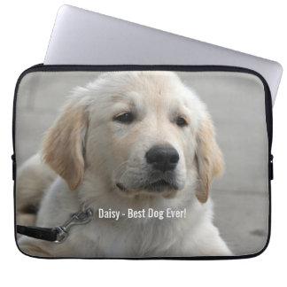 名前入りなゴールデン・リトリーバー犬の写真および名前 ラップトップスリーブ