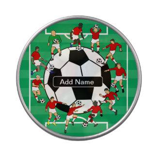 名前入りなサッカーボールおよびプレーヤー アメ缶