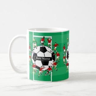 名前入りなサッカーボールおよびプレーヤー コーヒーマグカップ