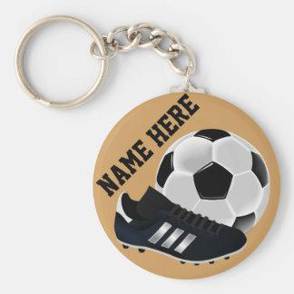 名前入りなサッカーボールおよび靴のギフト キーホルダー