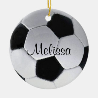 名前入りなサッカーボールのオーナメント 陶器製丸型オーナメント