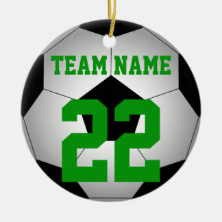 名前入りなサッカーボールのチーム名前 セラミックオーナメント