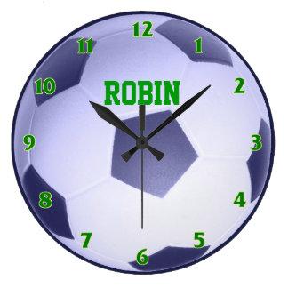 名前入りなサッカーボールの時計 ラージ壁時計