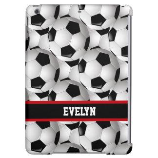 名前入りなサッカーボールパターン黒の赤い白