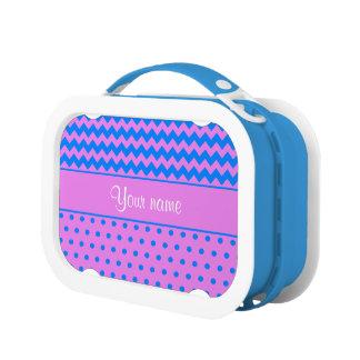 名前入りなシェブロンの水玉模様のバイオレットの紺碧 ランチボックス