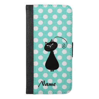 名前入りなシックでエレガントな黒猫の水玉模様 iPhone 6/6S PLUS ウォレットケース