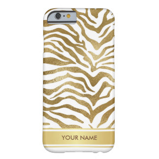 名前入りなシマウマのサファリの皮のホワイトゴールドの魅力 BARELY THERE iPhone 6 ケース