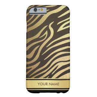 名前入りなシマウマの皮の魅力的で黒い金ゴールドの箱 BARELY THERE iPhone 6 ケース