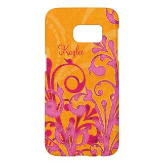 名前入りなショッキングピンクのオレンジの抽象芸術の花柄 SAMSUNG GALAXY S7 ケース