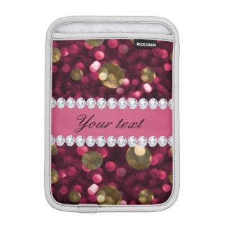 名前入りなショッキングピンクの金ゴールドの《写真》ぼけ味の模造のなダイヤモンド iPad MINIスリーブ