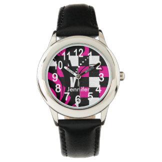 名前入りなショッキングピンク、白黒抽象芸術 腕時計