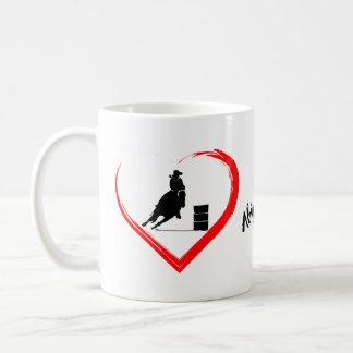 名前入りなシルエットのバレルの競走馬、ハート コーヒーマグカップ