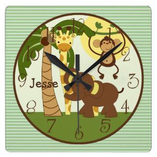 名前入りなジャングルのベビー動物の子供部屋の時計 スクエア壁時計