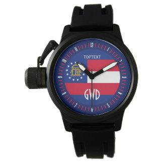 名前入りなジョージアの州の旗のデザイン 腕時計
