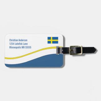 名前入りなスウェーデンの旗のカスタム ラゲッジタグ