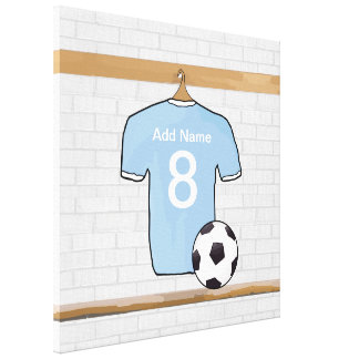 名前入りなスカイブルーの白いフットボールのサッカージャージー キャンバスプリント