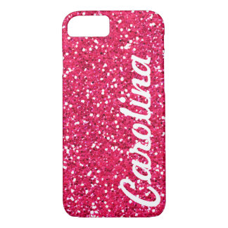 名前入りなスタイリッシュでガーリーなピンクのグリッター iPhone 7ケース