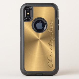 名前入りなステンレス鋼の金ゴールドの金属放射状のもの オッターボックスディフェンダーiPhone X ケース