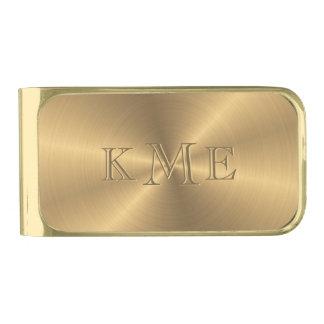 名前入りなステンレス鋼の金ゴールドの金属放射状のもの ゴールド マネークリップ