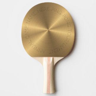 名前入りなステンレス鋼の金ゴールドの金属放射状のもの 卓球ラケット