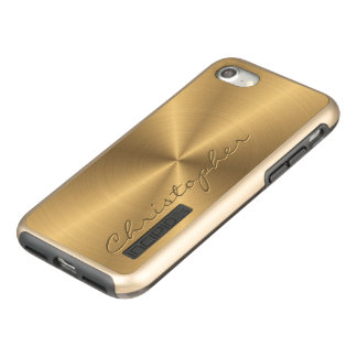 名前入りなステンレス鋼の金ゴールドの金属放射状のもの INCIPIO DualPro SHINE iPhone 7ケース