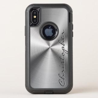 名前入りなステンレス鋼の金属放射状の一見 オッターボックスディフェンダーiPhone X ケース