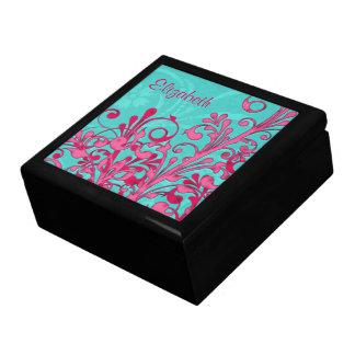 名前入りなターコイズおよびピンクの花の宝石箱 ギフトボックス