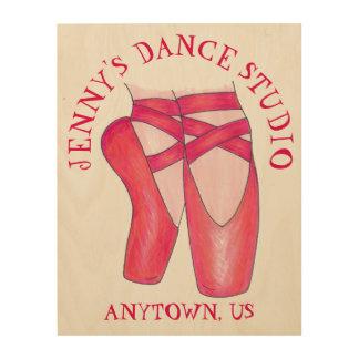 名前入りなダンスの先生のギフトのバレエシューズのスタジオ ウッドウォールアート