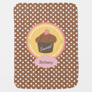 名前入りなチョコレートいちごのカップケーキ ベビー ブランケット