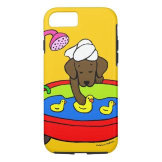 名前入りなチョコレートラブラドールのゴムは場合を引込めます iPhone 8/7ケース