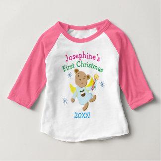 名前入りなテディー・ベアのクリスマスの天使 ベビーTシャツ